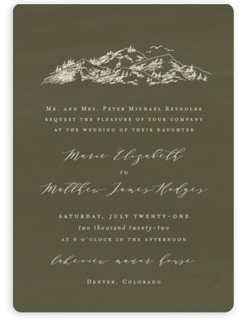 This is a green wedding invitation by Helen Halik called into the mountains with standard printing on signature in standard.