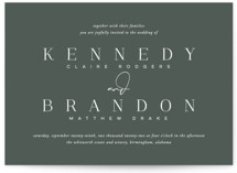 This is a green wedding invitation by Jessica Williams called The Space Between with standard printing on signature in standard.