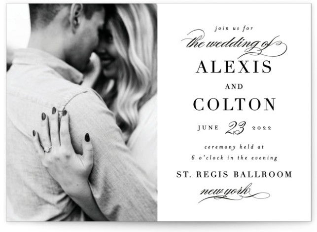 This is a black and white wedding invitation by AK Graphics called Charming with standard printing on signature in standard.