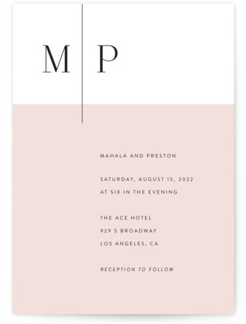 This is a pink wedding invitation by Smudge Design called The Ace with standard printing on signature in standard.