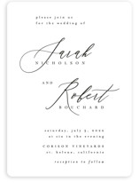 This is a white wedding invitation by Kelly Schmidt called Corison with standard printing on signature in standard.