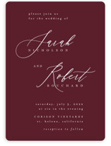 This is a red wedding invitation by Kelly Schmidt called Corison with standard printing on signature in standard.
