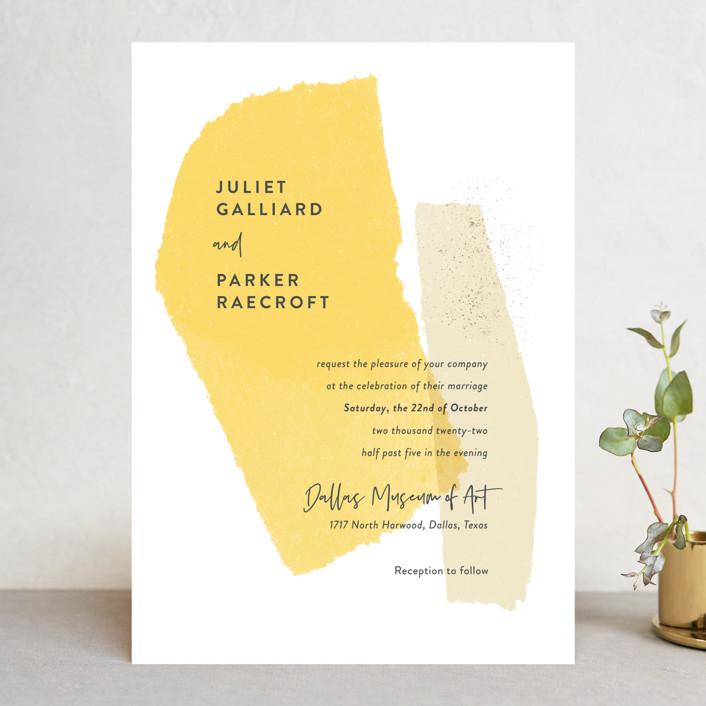 """""""Collage"""" - Modern Wedding Invitations in Golden Rod by Ann Gardner."""