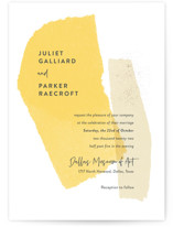 This is a yellow wedding invitation by Ann Gardner called Collage with standard printing on signature in standard.
