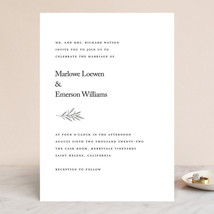 """Marlowe"" - Wedding Invitations in Classy White by Kelly Schmidt."