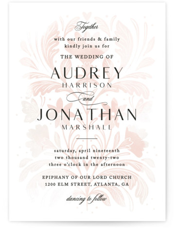 This is a pink wedding invitation by Paper Raven Co. called Batikka with standard printing on signature in standard.