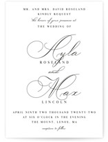 This is a white wedding invitation by Keen Peachy called Sweet Nothings with standard printing on signature in standard.