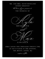 This is a black wedding invitation by Keen Peachy called Sweet Nothings with standard printing on signature in standard.