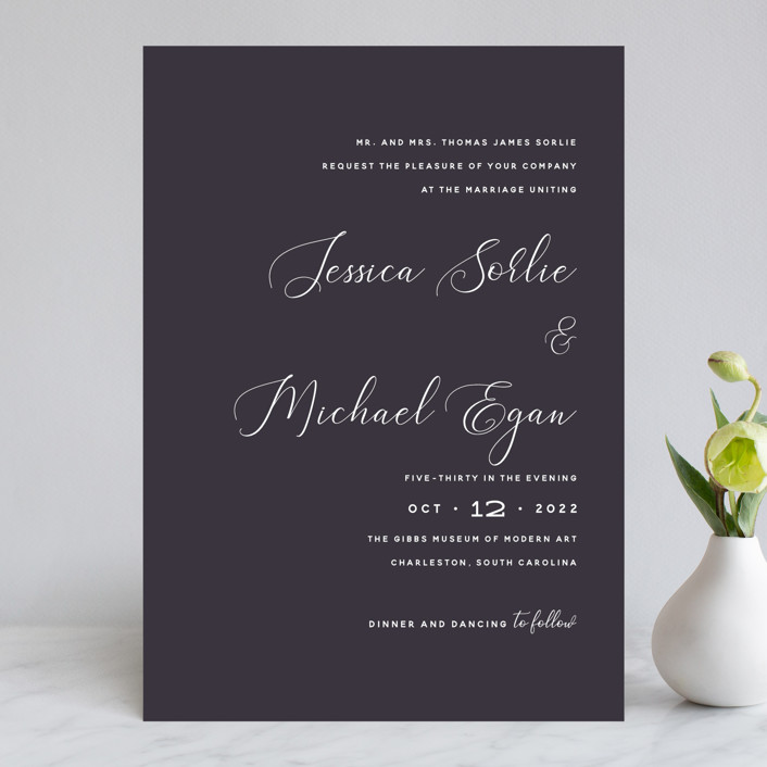 """""""Right Side"""" - Wedding Invitations in Blackberry by Susan Brown."""