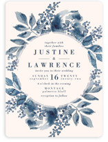 This is a blue wedding invitation by Chris Griffith called Southern Comfort with standard printing on signature in standard.