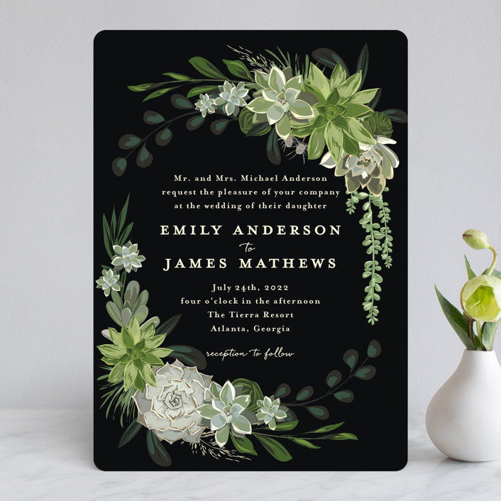 """Agave & Greens"" - Wedding Invitations in Midnight by Susan Moyal."