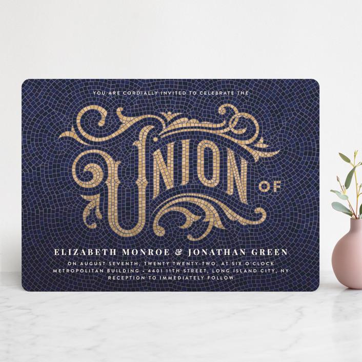 """Mosaic"" - Wedding Invitations in Navy by GeekInk Design."