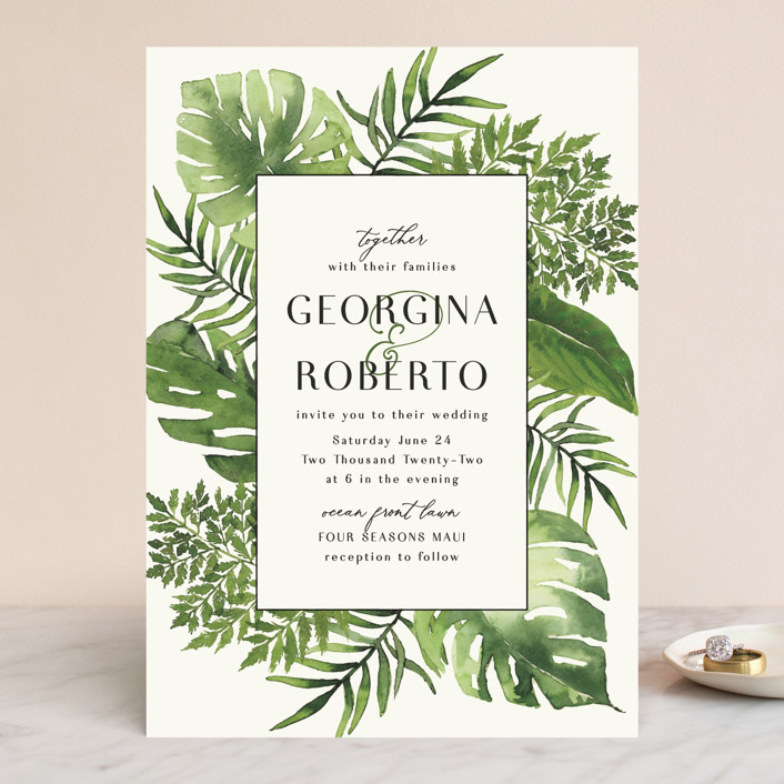 """Tropical Vows"" - Wedding Invitations in Jade by Chris Griffith."