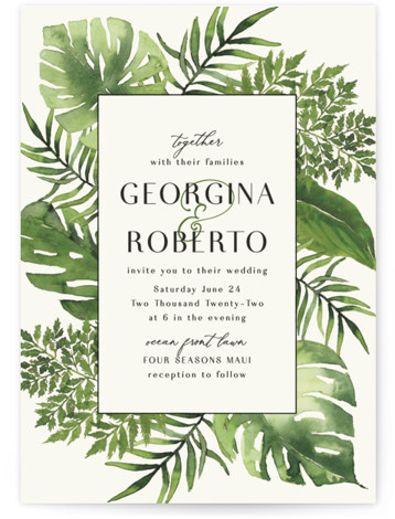This is a green wedding invitation by Chris Griffith called Tropical Vows with standard printing on signature in standard.
