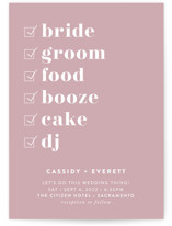 This is a pink wedding invitation by Christie Garcia called Key Ingredients with standard printing on signature in standard.