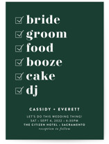 This is a green wedding invitation by Christie Garcia called Key Ingredients with standard printing on signature in standard.