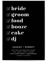 This is a black wedding invitation by Christie Garcia called Key Ingredients with standard printing on signature in standard.
