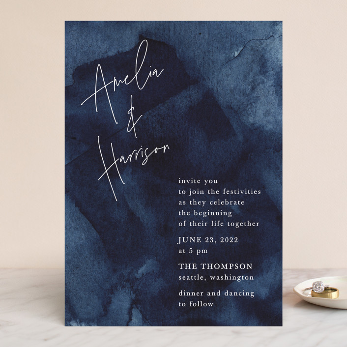 """Plain and Simple"" - Modern Wedding Invitations in Sapphire by Chris Griffith."