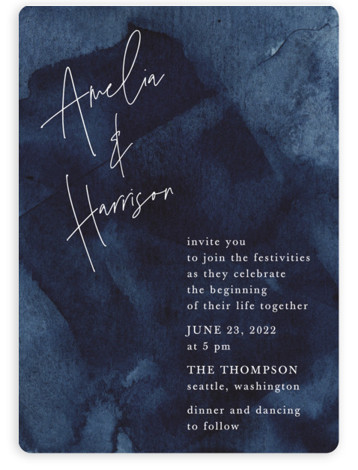 This is a blue wedding invitation by Chris Griffith called Plain and Simple with standard printing on signature in standard.
