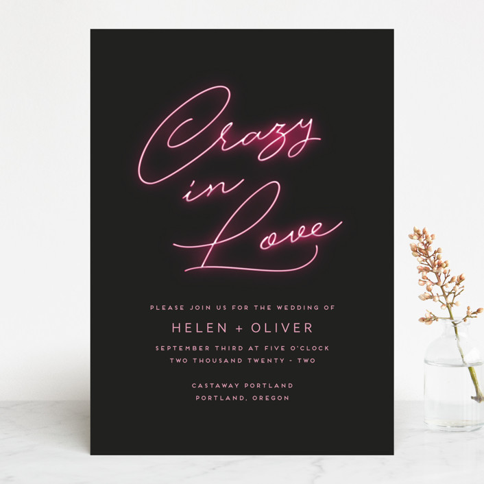 """Crazy in Love"" - Modern Wedding Invitations in Hot Pink by Design Lotus."