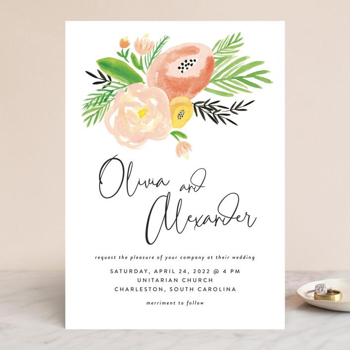 """""""Posie Garden Bouquet"""" - Wedding Invitations in Peach by Erika Firm."""
