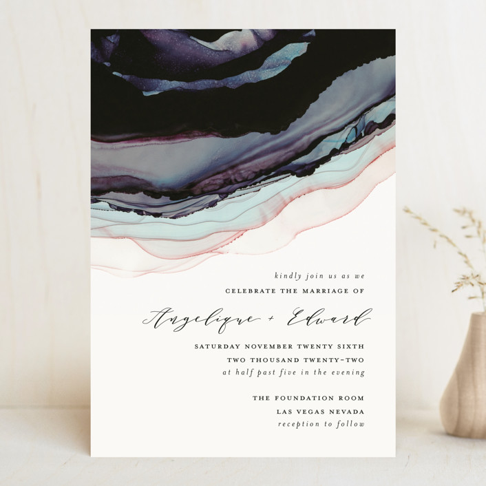 """Flow"" - Modern Wedding Invitations in Amethyst by Three Kisses Studio."