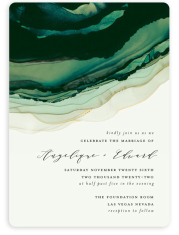 This is a green wedding invitation by Three Kisses Studio called Flow with standard printing on signature in standard.