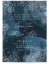 This is a blue wedding invitation by Alethea and Ruth called Midnight Snowfall with standard printing on signature in standard.