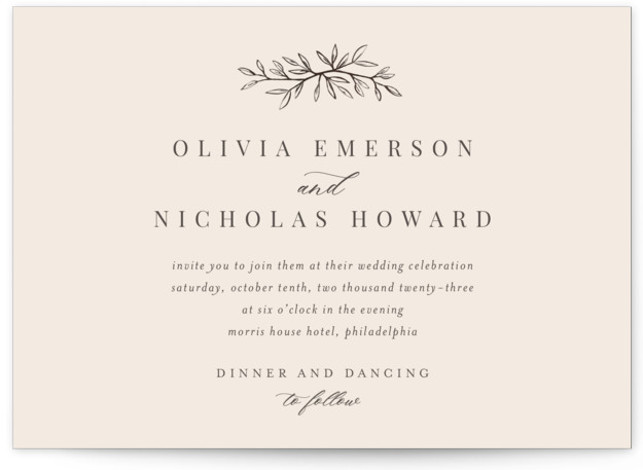 This is a beige wedding invitation by Katherine Moynagh called Leafy Branch with standard printing on signature in standard.