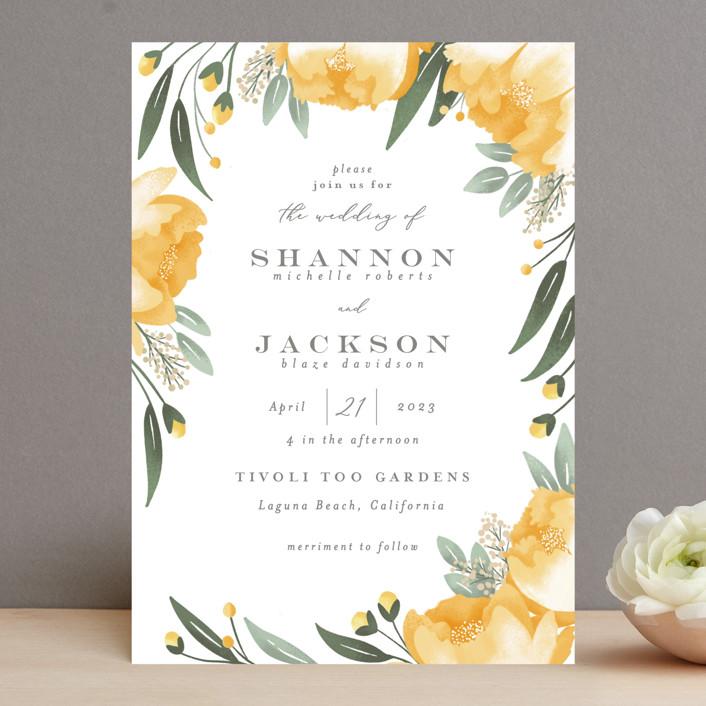 """Peony Wreath"" - Wedding Invitations in Peach by Joanna Griffin."