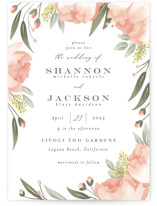 This is a pink wedding invitation by Joanna Griffin called Peony Wreath with standard printing on signature in standard.