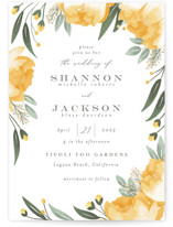 This is a yellow wedding invitation by Joanna Griffin called Peony Wreath with standard printing on signature in standard.