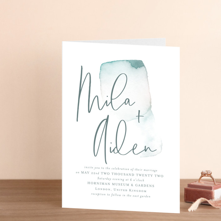 """""""Moxie"""" - Modern Four-panel Wedding Invitations in Ink by Design Lotus."""