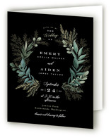 This is a black four panel wedding invitation by Alethea and Ruth called Forest Crest with standard printing on signature in four-panel.