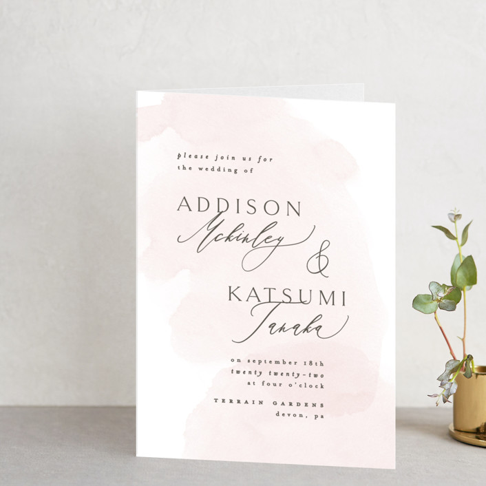"""""""Softly Layered"""" - Four-panel Wedding Invitations in Blush by Everett Paper Goods."""