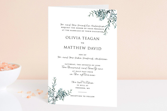 """Fresh Sage"" - Four-panel Wedding Invitations in Olive by Christie Kelly."