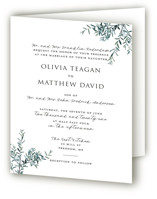 This is a green four panel wedding invitation by Christie Kelly called Fresh Sage with standard printing on signature in four-panel.