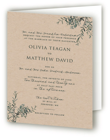 This is a brown Savvy Wedding Invitations by Christie Kelly called Fresh Sage with Standard printing on Signature in Four Panel Fold Over (Message Inside) format. Set the tone for your bright and lovely nuptials with this delicate and delightful ...
