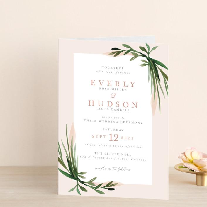 """Botanical Frame"" - Four-panel Wedding Invitations in Fern by Kate Ahn."