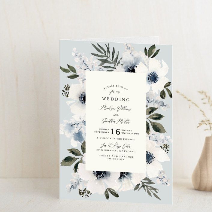 """""""Nantucket Romance"""" - Four-panel Wedding Invitations in Marine by Chris Griffith."""