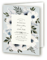 This is a blue four panel wedding invitation by Chris Griffith called Nantucket Romance with standard printing on signature in four-panel.