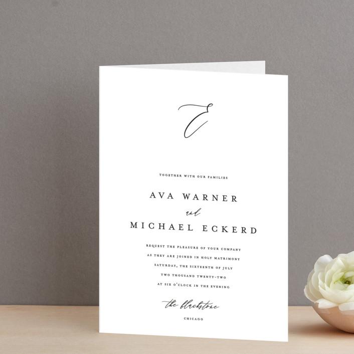 """Delicate"" - Four-panel Wedding Invitations in Obsidian by Jennifer Postorino."