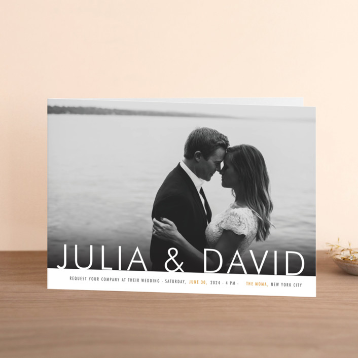 """""""Minimalist Display"""" - Simple Four-panel Wedding Invitations in Orange by Coco and Ellie."""