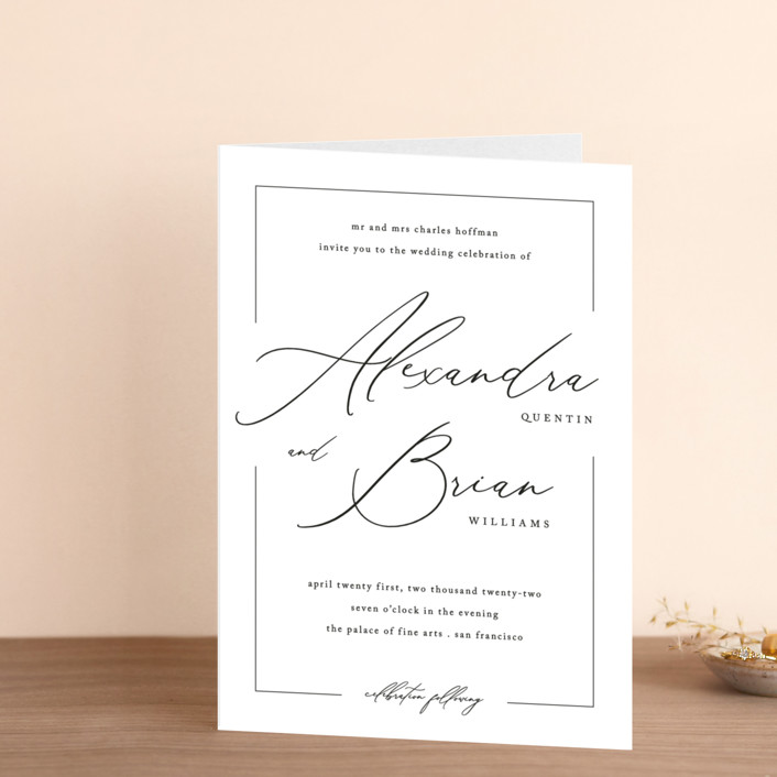 """""""Love Story"""" - Four-panel Wedding Invitations in Alabaster by Liz Conley."""