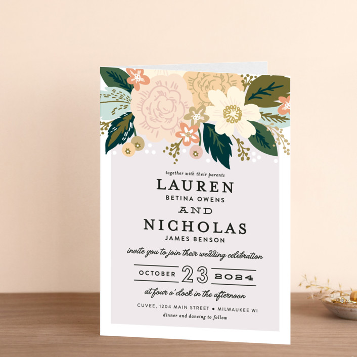 """Classic Floral"" - Floral & Botanical Four-panel Wedding Invitations in Spring Blush by Alethea and Ruth."