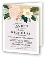 This is a colorful four panel wedding invitation by Alethea and Ruth called Classic Floral with standard printing on signature in four-panel.