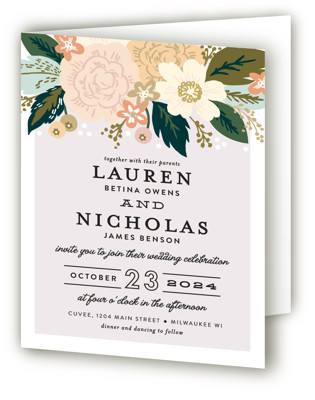 Classic Floral Four-Panel Wedding Invitations