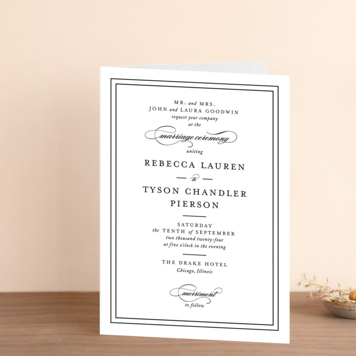 """""""Eloquence"""" - Four-panel Wedding Invitations in Vanilla by Kimberly FitzSimons."""