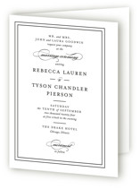 This is a black and white four panel wedding invitation by Kimberly FitzSimons called Eloquence with standard printing on signature in four-panel.