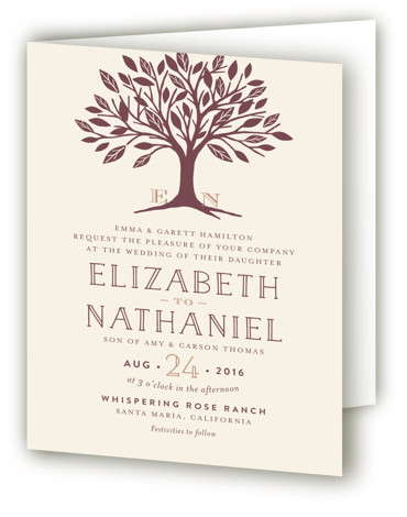 This is a portrait botanical, illustrative, monogrammed, rustic, brown Savvy Wedding Invitations by Griffinbell Paper Co. called Enchanted with Standard printing on Signature in Four Panel Fold Over (Message Inside) format. A simple, graphic sweetheart tree in rose gold is ...